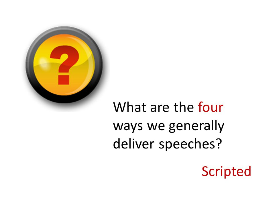 What are the four ways we generally deliver speeches? Memorized