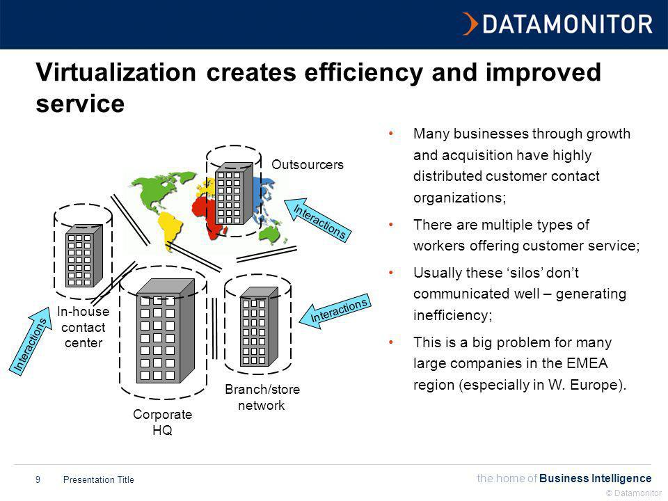 the home of Business Intelligence Presentation Title © Datamonitor 10 New agent types are a key feature of virtualization 0 100 200 300 400 500 600 700 800 900 200520062007200820092010 Back office / knowledge workers Branch workers Home workers APs 000s Along with CC-based agents (in- house or outsourced) new agent types are playing an important role in delivering customer services; Home working is seen as an important way of motivating and retaining staff; Branch workers are already trained customer service professionals; Knowledge workers can help improve first call resolution; Technology exists to enable these groups to be incorporated into the CC organization.