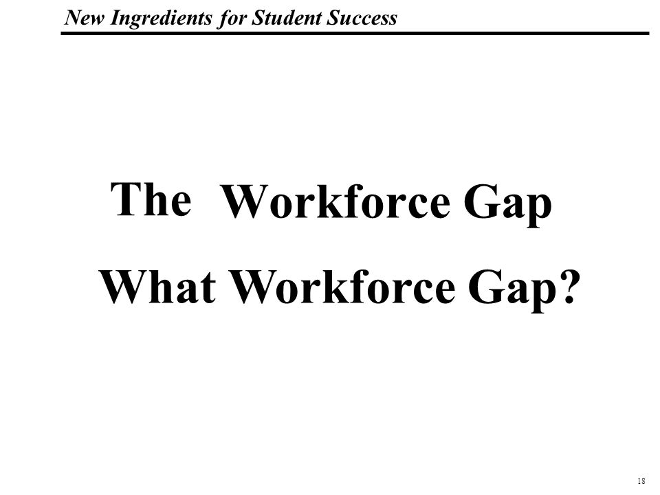 19 108319_Macros New Ingredients for Student Success The workforce gap in the Silicon Valley has widened from 160,000 in 1997 to 216,000 in 2000.