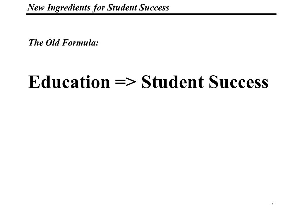 22 108319_Macros New Ingredients for Student Success The Student Success Multiple Choice Test: 1 A I learned little in high school B I learned a lot in High School C I learned a lot in high school and can show evidence of my work in my Digital Portfolio on the web