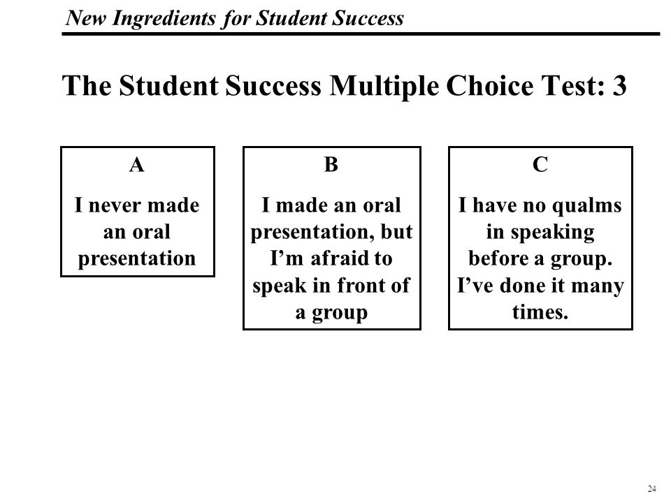 25 108319_Macros New Ingredients for Student Success The Student Success Multiple Choice Test: 4 A I don't know what I want to do after high school B I'm going to college.