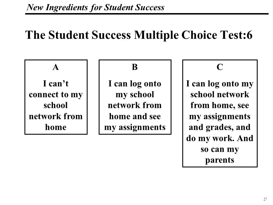 28 108319_Macros New Ingredients for Student Success The Student Success Multiple Choice Test: 7 A I never work with other students B A few times I worked with other students on an assignment C Not always but most of the time we collaborate with other students (and sometimes adults) on a project.