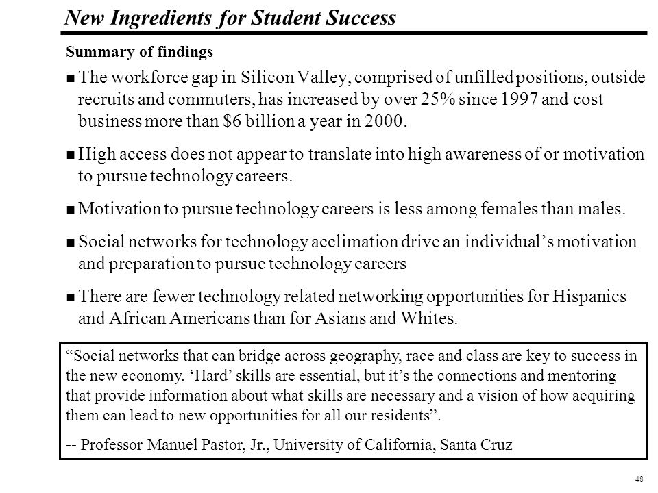 49 108319_Macros New Ingredients for Student Success The 2002 Workforce Study emphasizes that a cooperative regional effort is needed to expand the social networks that connect young people with the Silicon Valley jobs of tomorrow.