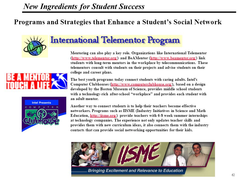 63 108319_Macros New Ingredients for Student Success New Technology High School Napa, California http://www.newtechhigh.org/  Integrating technology into every class  Interdisciplinary and project-based  Internship class consisting of classroom curriculum and unpaid work in technology, business or education  Digital Portfolio TED FUJIMOTO, JOANNE MILLER, AND MARK S.