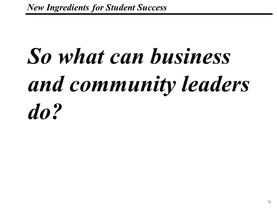 71 108319_Macros New Ingredients for Student Success What Business and Community Leaders Can Do… Become Board Members and Industry Advisory Board Members Sponsor Internships, Job Shadows Teachers in the Workplace Mentor kids Work with Teachers and Students on Projects