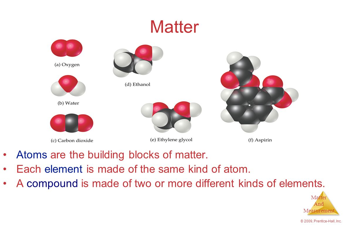 Matter And Measurement © 2009, Prentice-Hall, Inc. States of Matter