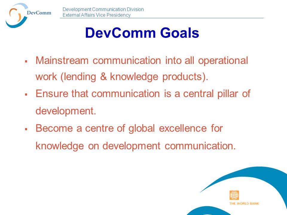 Development Communication Division External Affairs Vice Presidency DevComm Organization A Division in the External Affairs, Communications and United Nations Affairs Vice-Presidency.
