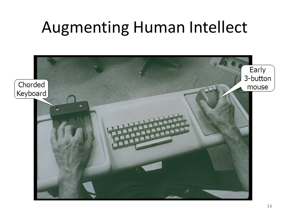 Augmenting Human Intellect First mouse First hypertext First word processing First 2D editing and windows First document version control 15 First groupware (shared screen teleconferencing) First context-sensitive help First distributed client- server Many, many more!