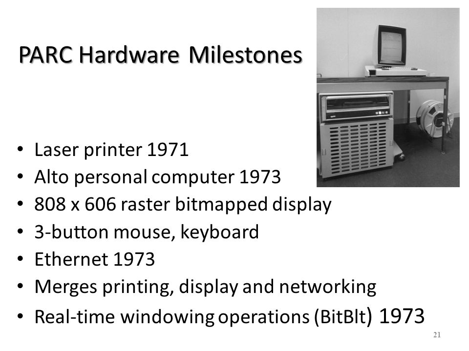 22 PARC Software Milestones Bravo WYSIWYG text editor/formatter 1974 Gypsy text editor with GUI and modeless cut and paste editing 1975 Draw drawing program 1975 Superpaint paint program 1974-75