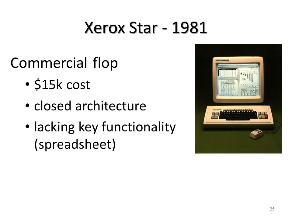 26 Apple Lisa - 1982 Based on ideas of Star More personal rather than office tool – Still $$$ - $10K to $12K Failure