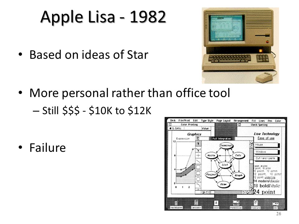 27 Apple Macintosh - 1984 Aggressive pricing – $2500 Good interface guidelines Third party applications Great graphics, laser printer
