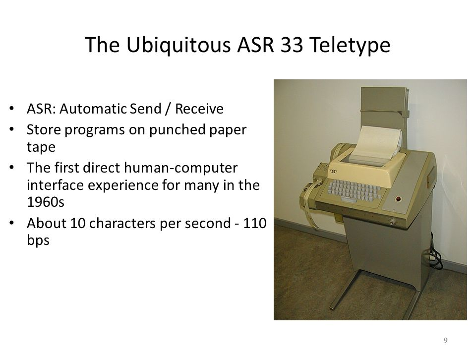 The Ubiquitous Glass Teletype 24 x 80 characters Up to 19,200 bps – BPS.
