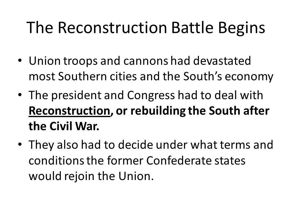 The Reconstruction Battle Begins President Lincoln's Proclamation of Amnesty and Reconstruction called for a general amnesty, or pardon, to all Southerners who took an oath of loyalty to the United States and accepted the Union's proclamations concerning slavery.