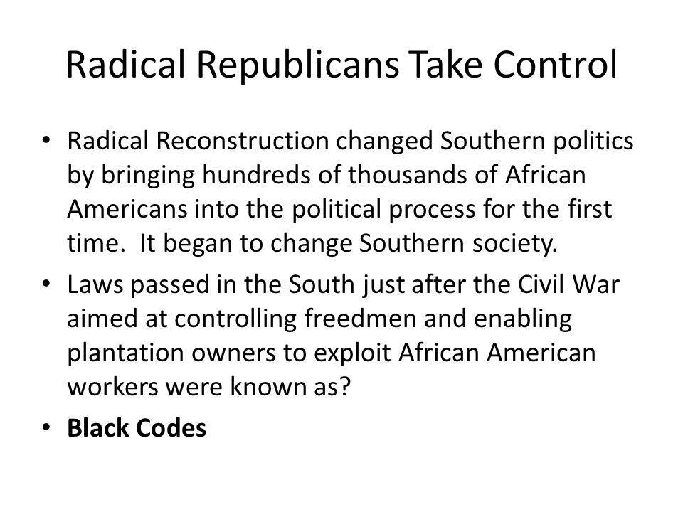 Republican Rule in the South During Reconstruction, many Northerners moved to the South and many were elected or appointed to positions in the state governments.
