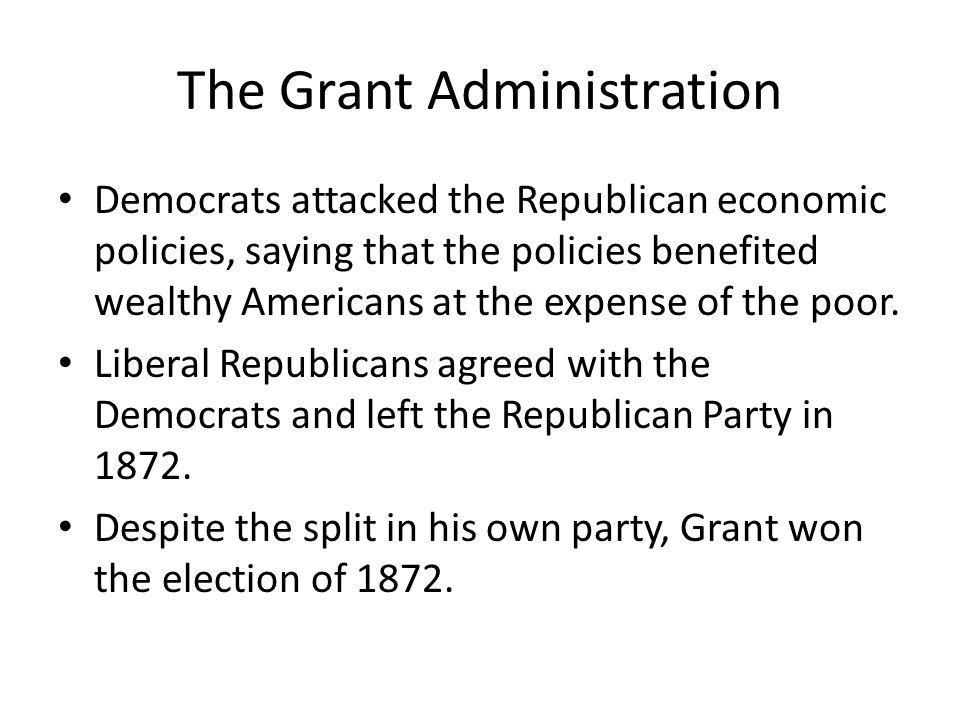 The Grant Administration Grants 2 nd term of office was hurt by a series of scandals.