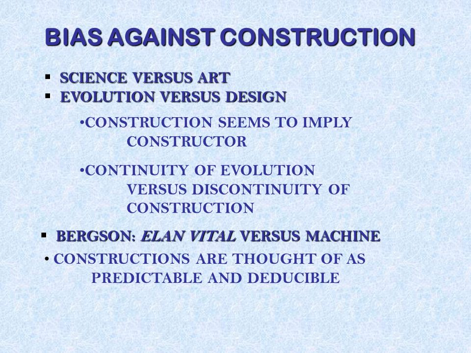 Construction, not Process Not a Metaphysics Based on the Already Given (Structures, Dynamics, Properties) Not Subjugation to Process or Temporal Flow Non-Oppositional Based on Constructional Resources and Operations Free Act of Creativity but Not Order for Free
