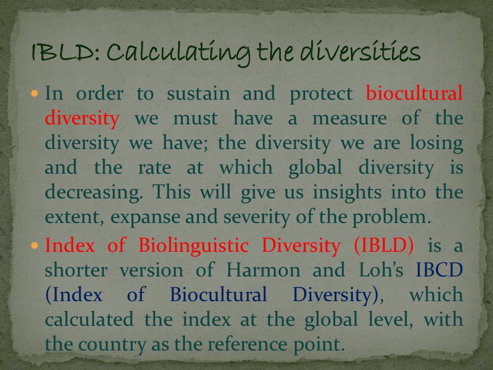 While IBCD took the religious, linguistic, and biological diversity as the variables to calculate the index, IBLD excludes the religious diversity.
