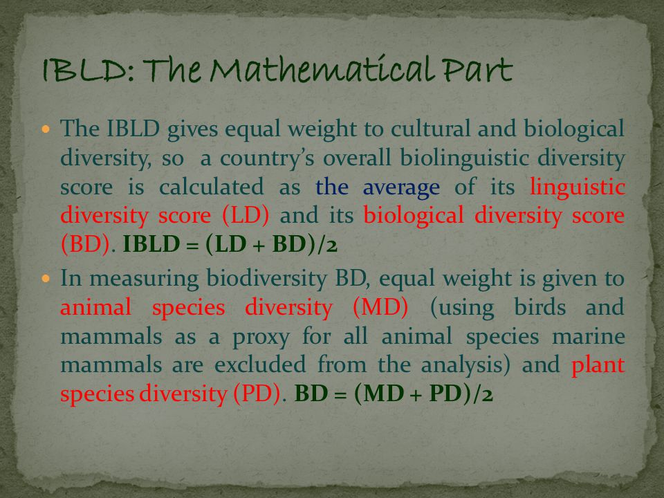 Besides this index, I have also calculated Spearman's Rank Correlation Coefficient to gauge the extent to which the linguistic and biological diversity is correlated within India.