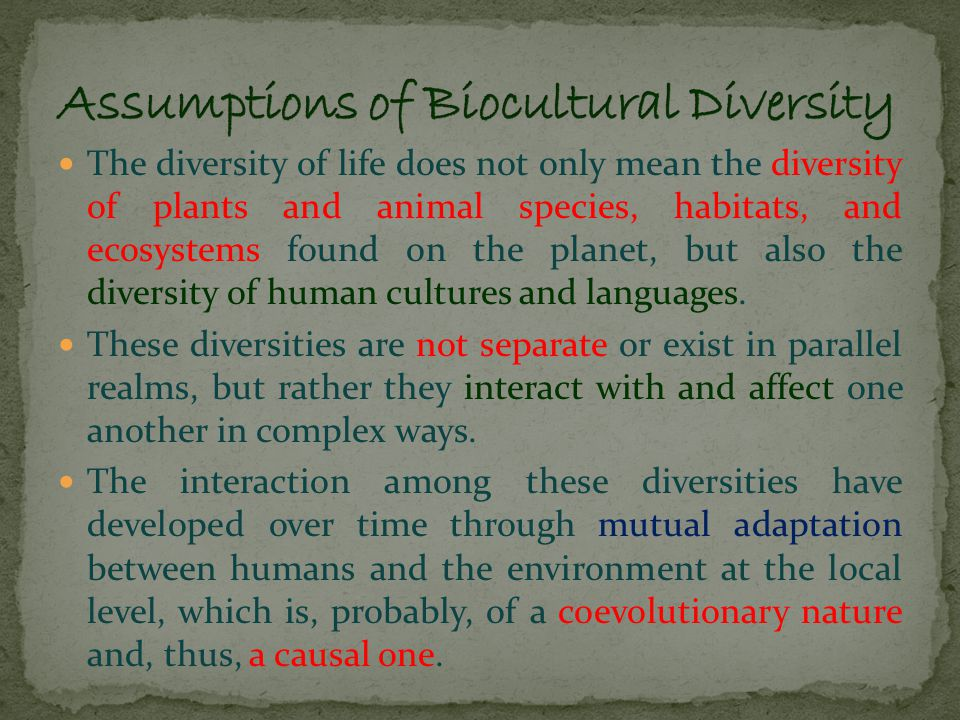 At the international level, an integrated notion of biocultural diversity was first incorporated in the Declaration of Belém of the International Society of Ethnobiology in 1988 at the First International Congress of Ethnobiology in Belém, Brazil.