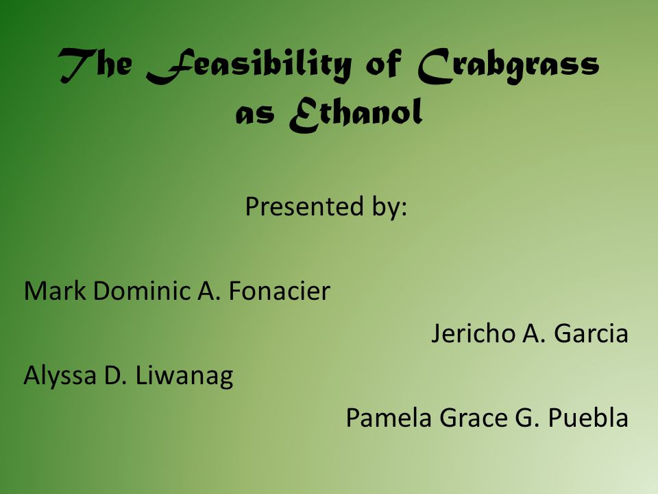 Abstract This project entitled Feasibility of Crabgrass (Digitaria Ischaemum) as Ethanol aims to find out if the starch extracted from the crabgrass can be used in the production of ethanol.