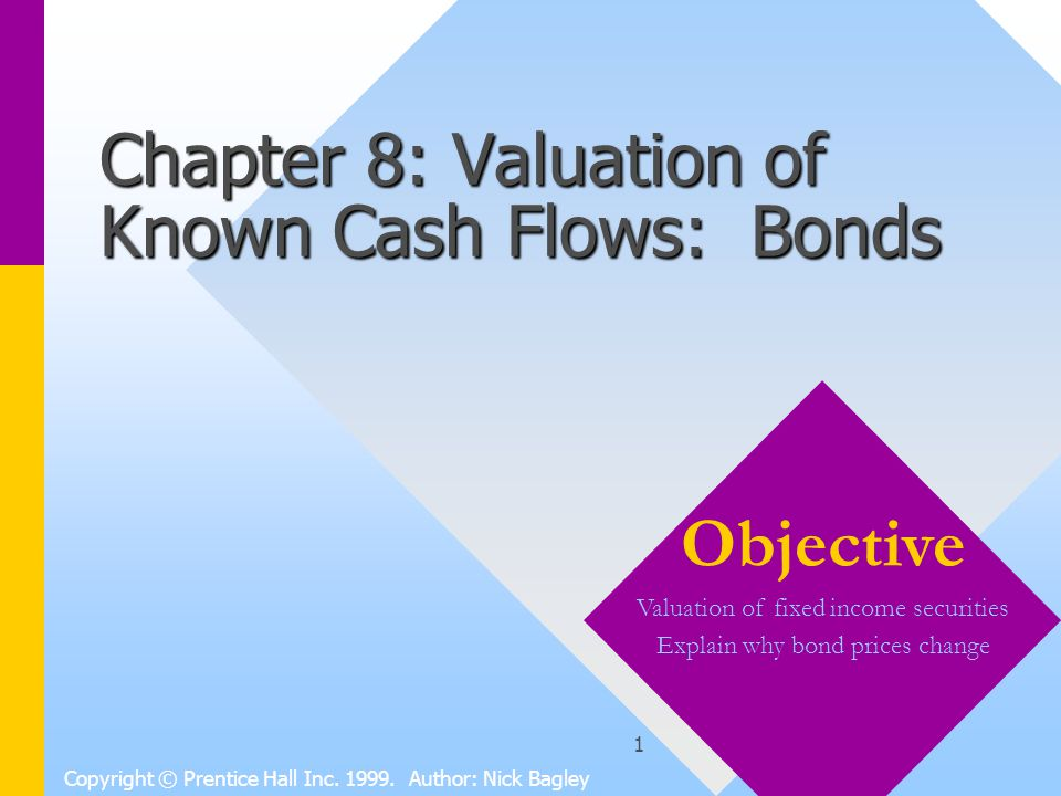 2 Chapter 8 Contents 1 Using Present Value Formulas to Value Known Flows1 Using Present Value Formulas to Value Known Flows 2 The Basic Building Blocks: Pure Discount Bonds2 The Basic Building Blocks: Pure Discount Bonds 3 Coupon Bonds, Current Yield, and Yield-to- Maturity3 Coupon Bonds, Current Yield, and Yield-to- Maturity 4 Reading Bond Listings4 Reading Bond Listings 5 Why Yields for the same Maturity Differ5 Why Yields for the same Maturity Differ 6 The Behavior of Bond Prices Over Time6 The Behavior of Bond Prices Over Time