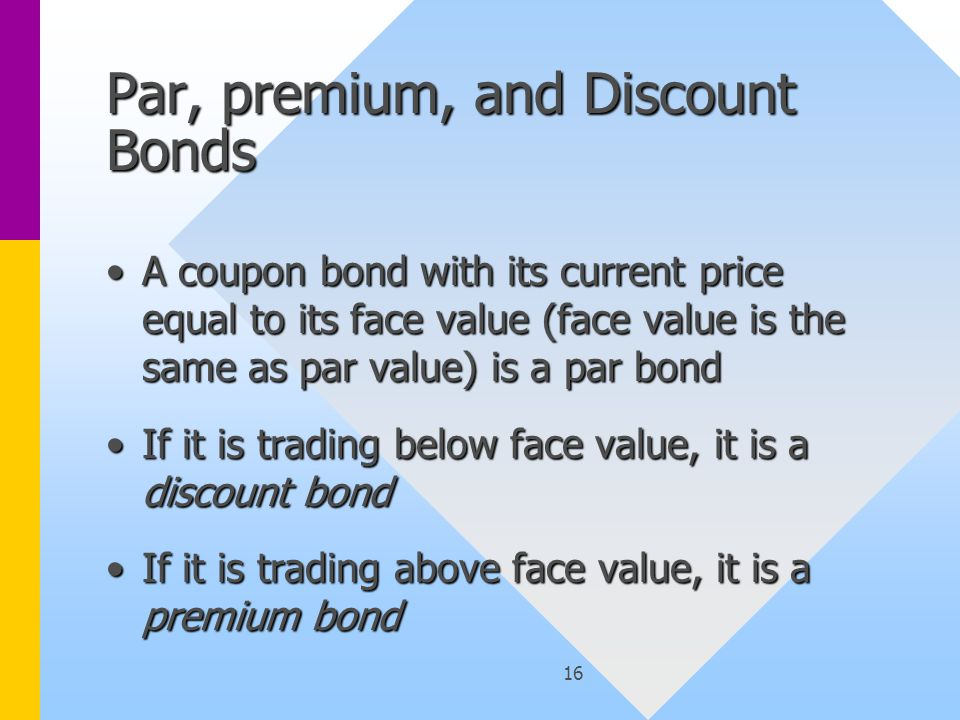 17 The Relationship between Coupon Rate, Current Yield, and Yield-to-Maturity The yield-to-maturity is the discount rate that makes the present value of the cash flows from the bond equal to the current price of the bondThe yield-to-maturity is the discount rate that makes the present value of the cash flows from the bond equal to the current price of the bond Coupon Rate = Coupon/Face ValueCoupon Rate = Coupon/Face Value Current Yield = Coupon/PriceCurrent Yield = Coupon/Price