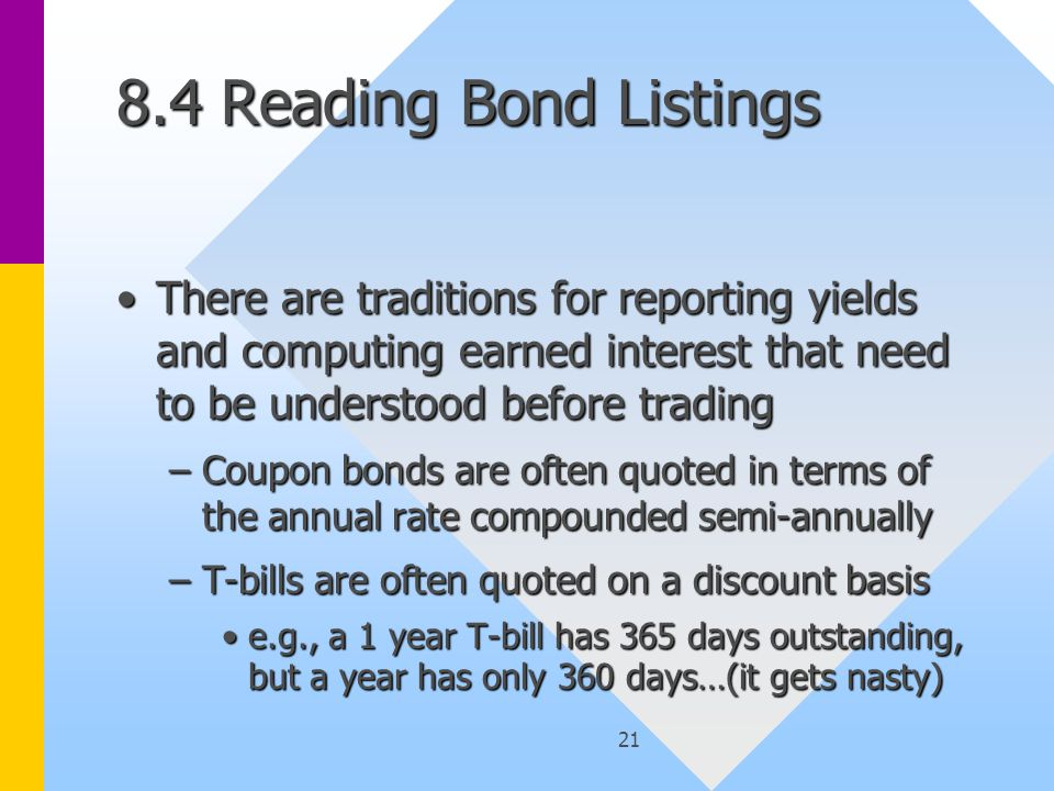 22 Reading Bond Listings Take care that the fractional part of a number is understoodTake care that the fractional part of a number is understood –Is it 16ths, 32nds, 64ths, 100ths or some other convention.
