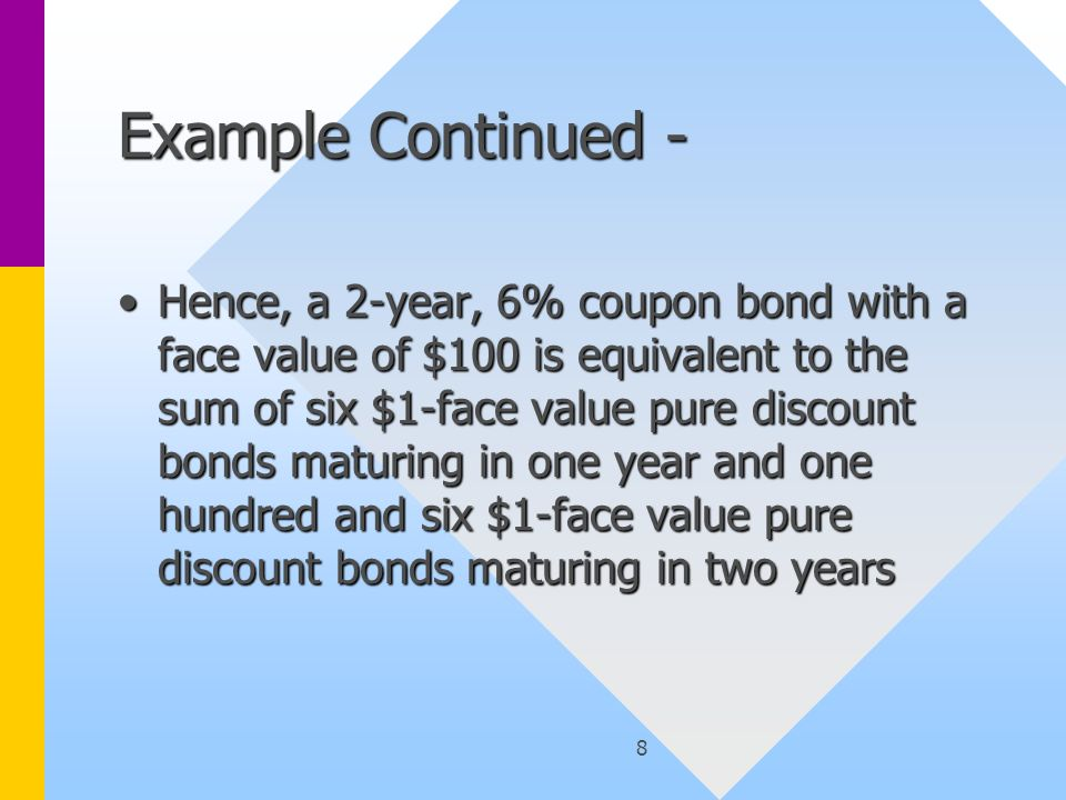 9 Example Continued What is the relationship between i 1, i 2, and the two-year yield to maturity, i c on the 6% coupon bond?What is the relationship between i 1, i 2, and the two-year yield to maturity, i c on the 6% coupon bond.