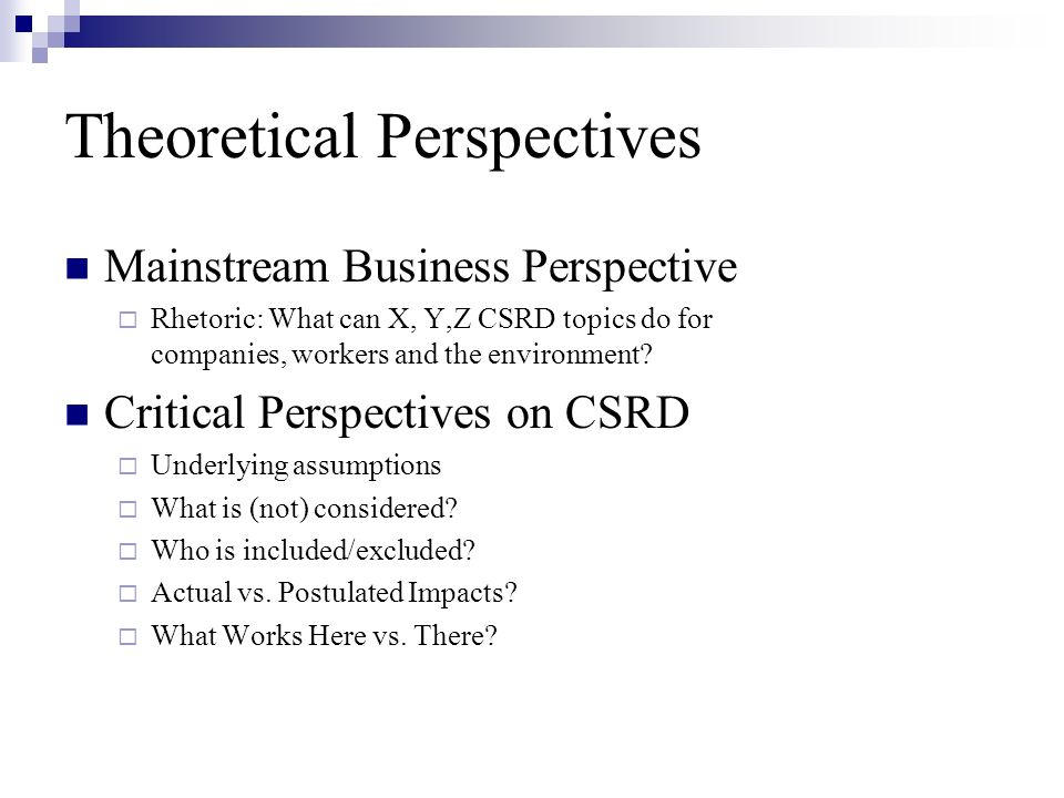 Theoretical Perspectives Impact Assessment Postulated vs.