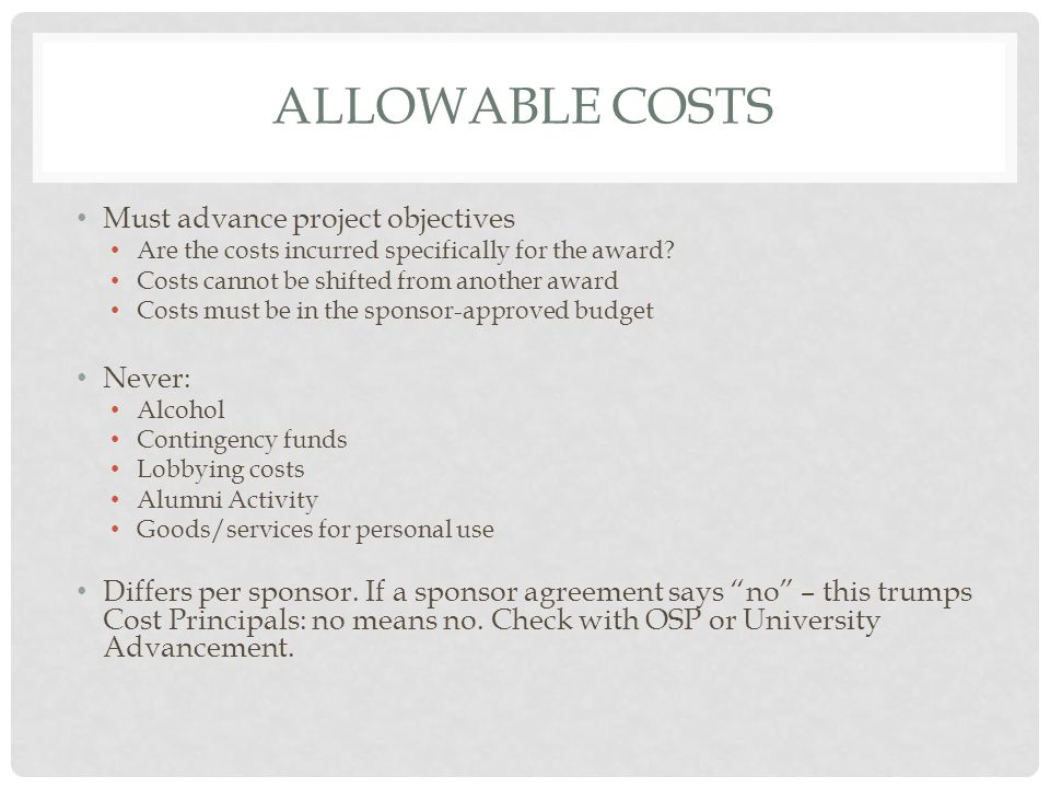 MY COST IS ALLOWABLE: CAN I CHARGE IT.