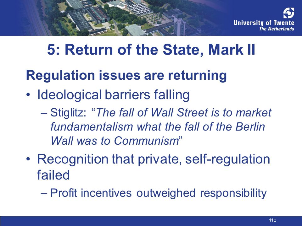 12 5: Return of the State, Mark II Issues: Transparency of financial derivatives Using derivatives as assets Credit rating agencies & products Financial reporting: shadow banking Accounting standards Reserve ratios and risk assessments State investigation and enforcement power