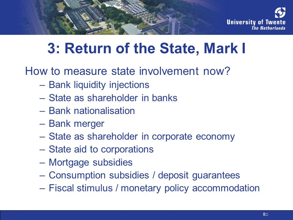 9 Systemic Stability Measures Bank Liqui dity Bank Shar ehold Natio nalis ation Bank Merg er Corp Shar ehold Corp State Aid Mortg age Subs.