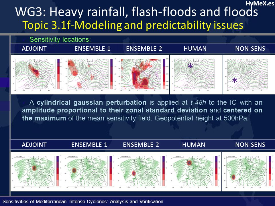HyMeX.es Mean normalized RMSD of MSLP over the 25 verification cyclone cases: Sensitivities of Mediterranean Intense Cyclones: Analysis and Verification WG3: Heavy rainfall, flash-floods and floods Topic 3.1f-Modeling and predictability issues