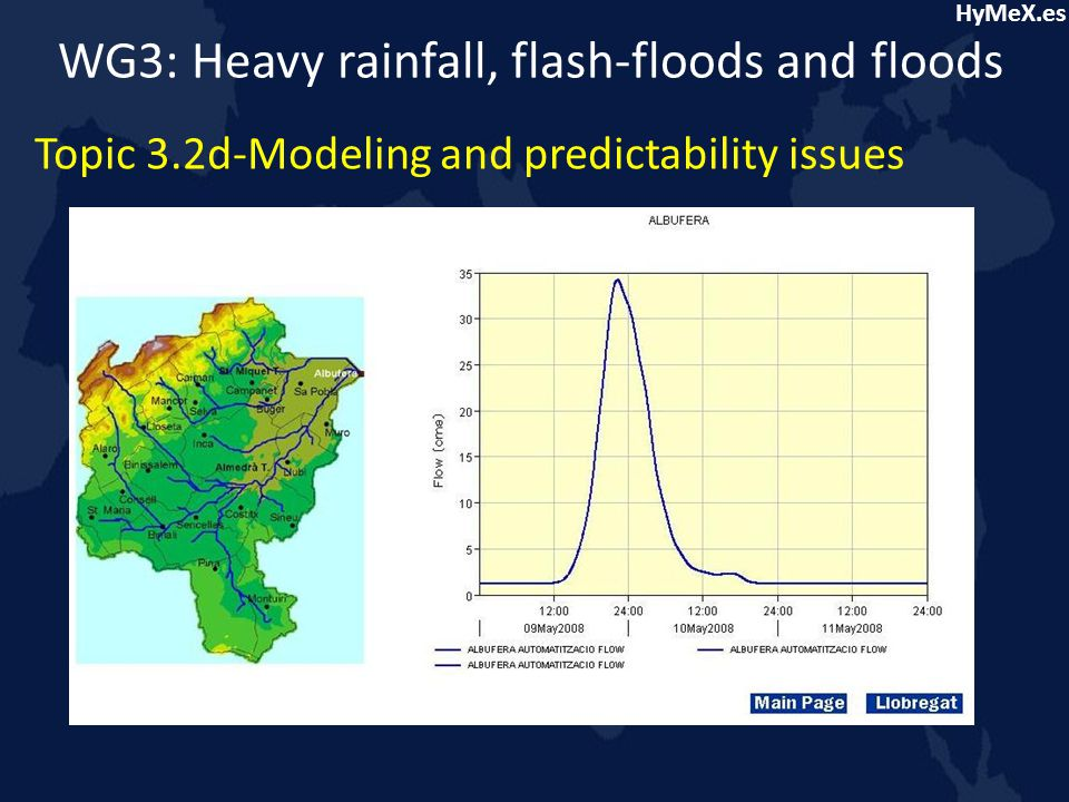 HyMeX.es WG3: Heavy rainfall, flash-floods and floods Topic 3.2d-Modeling and predictability issues