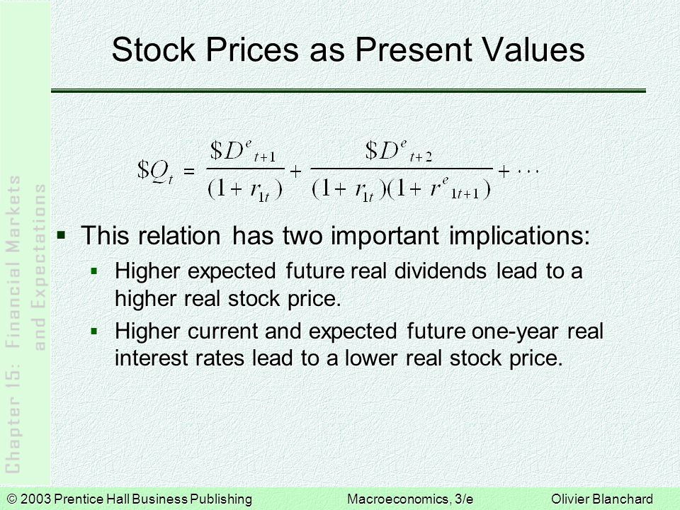 © 2003 Prentice Hall Business PublishingMacroeconomics, 3/e Olivier Blanchard The Stock Market and Economic Activity  Stock prices follow a random walk if each step they take is as likely to be up as it is to be down.