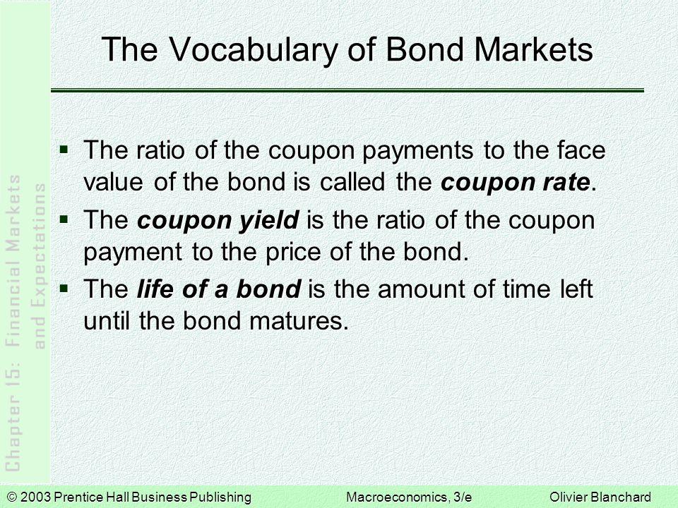 © 2003 Prentice Hall Business PublishingMacroeconomics, 3/e Olivier Blanchard The Vocabulary of Bond Markets  U.S.