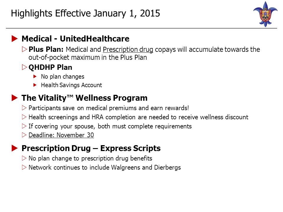 2015 Medical Plan Options Plus PlanQHDHP Plan SLUCareIn-Network Out-of- Network SLUCareIn-Network Out-of- Network Deductible Non-Embedded: (One member can satisfy entire family deductible) Individual$0$500$750$1,500 $3,000 Family$0$1,000$1,500$3,000 $6,000 Coinsurance0%10%40%0%10%40% Out-of-Pocket Maximum (includes deductibles and all copays) Non-Embedded: (One member can satisfy entire family OOP Max) Individual$1,500 $4,750$1,500$3,000$6,000 Family$3,000 $9,500$3,000$6,000$12,000 Physician Office Visits Primary Care$10 copay 10% after ded.40% after ded.0% after ded.10% after ded.40% after ded.
