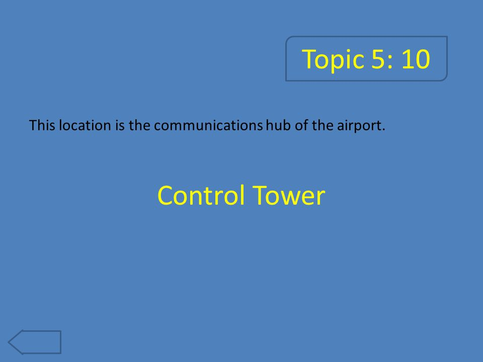 Topic 5: 15 The airplanes are kept in this large building when not in use. Hanger