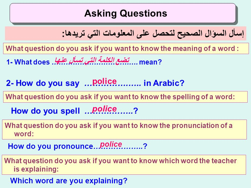 إسأل السؤال الصحيح لتحصل على المعلومات التي تريدها: Asking Questions What question do you ask if you want to know the meaning of a word : 1- What does ……………………………….