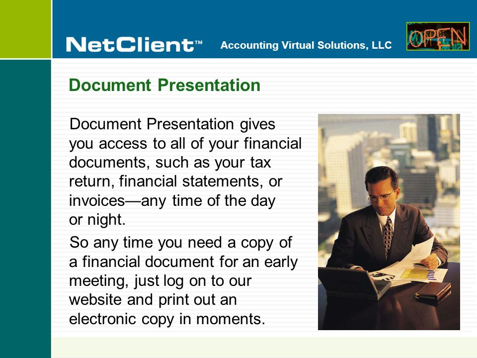 Accounting Virtual Solutions, LLC File Exchange File Exchange lets you exchange information and share working files with usimmediately and securely.