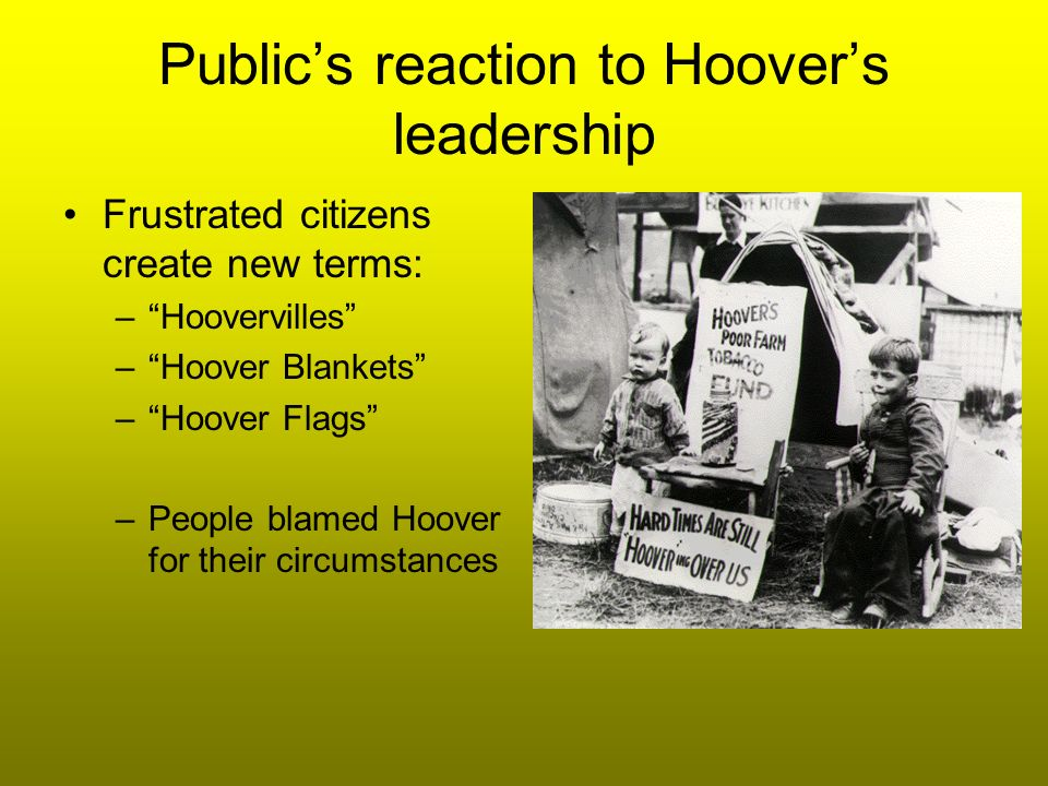 Hoover starts to be more active… Creation of Boulder (Hoover Dam) – create jobs Reconstruction Finance Corporation (RFC) – provides $$$ to banks & businesses to pump $ into the system to trickle down