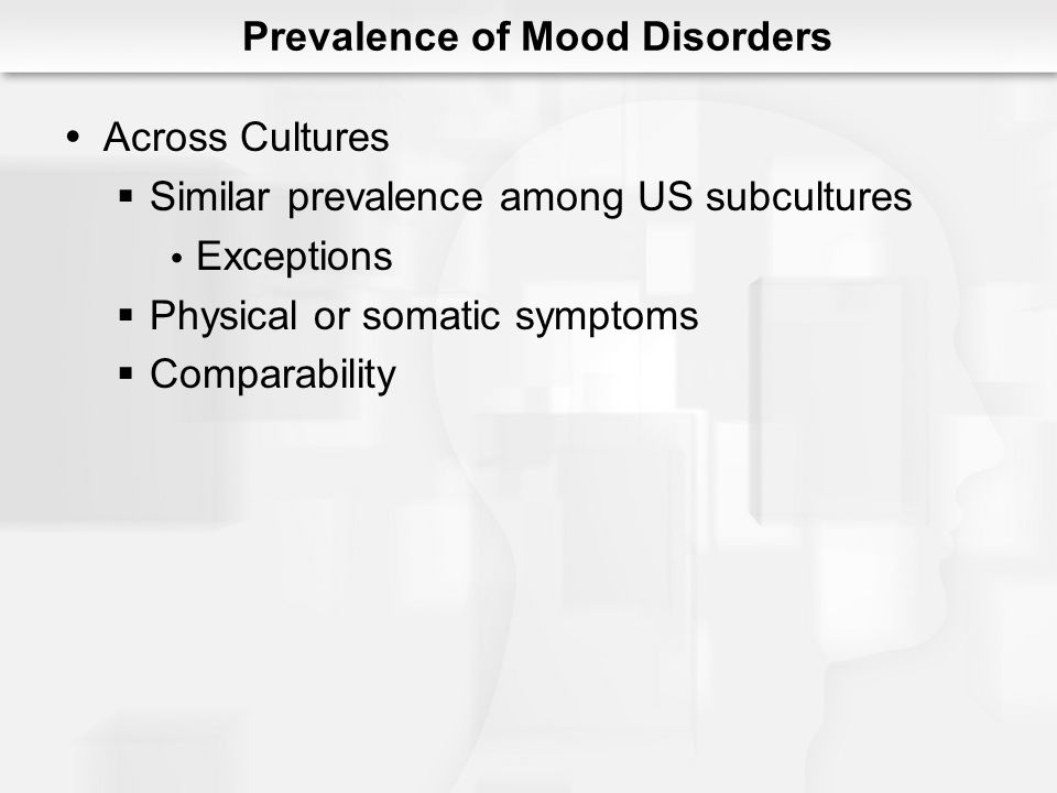 Among the creative Higher prevalence Melancholia Mania Gender differences Prevalence of Mood Disorders