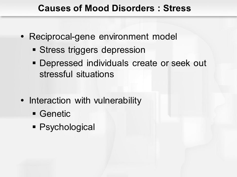 Learned Helplessness (Seligman) Lack of perceived control Depressive Attributional Style Internal Stable Global Also characterizes anxiety Causes of Mood Disorders : Psychological