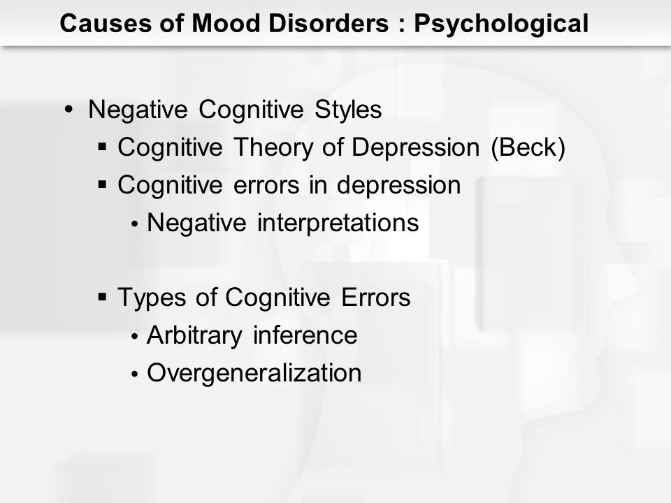 Becks Depressive Cognitive Triad Causes of Mood Disorders : Psychological