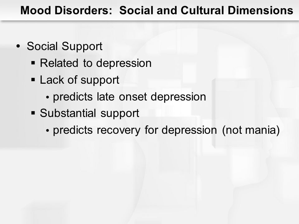Integrative Theory of Mood Disorders Shared biological vulnerability Psychological vulnerability Exposure to Stress Social and interpersonal relationships