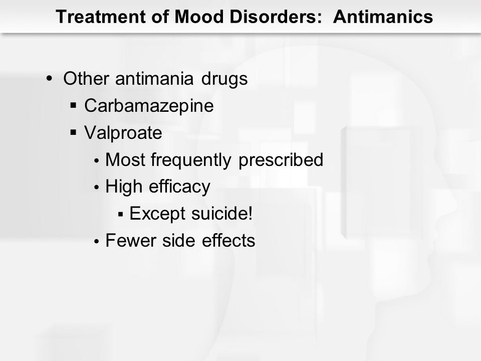 Electroconvulsive Therapy Brief electrical current Temporary seizures 6 to 10 treatments High efficacy Severe depression Few side effects Relapse is common Treatment of Mood Disorders: ECT