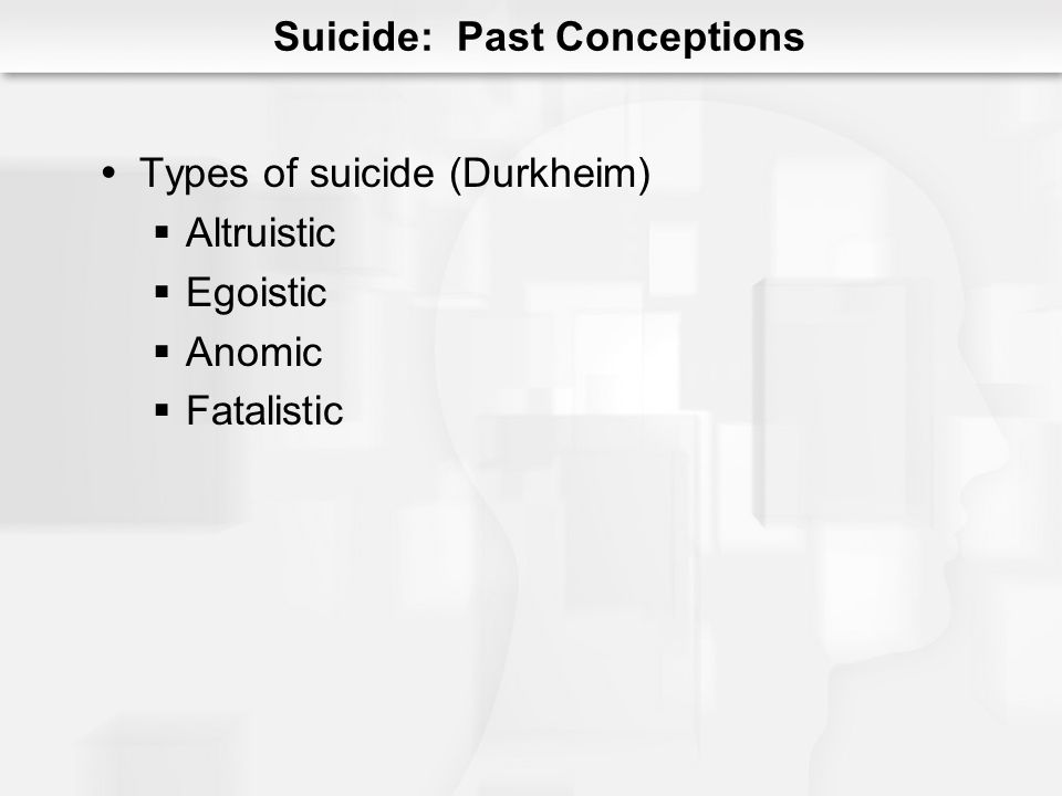 Suicide: Risk Factors Family history Low serotonin levels Preexisting disorder Alcohol Past suicidal behavior Shameful/humiliating stressor Suicide publicity and media coverage