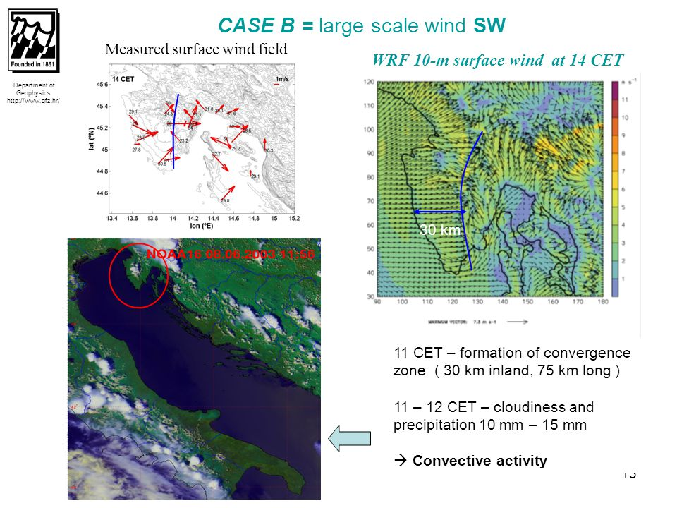 14  deeper penetration of SB inland  convergence zone is moved to east Department of Geophysics http://www.gfz.hr/ MAX ECHO (DBZ) at 13:50 CET CG lightning data at 13:50 CET 13 CET – formation of Cb ( north part of Istria ) 14 – 16 CET – disipation of Cb