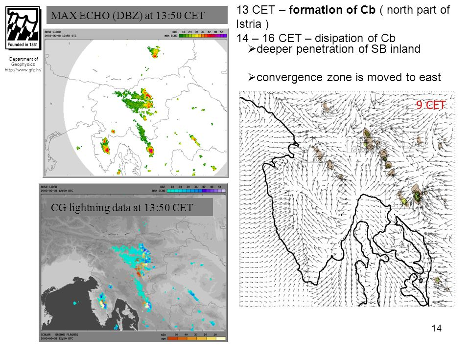 15 WRF 10-m surface wind at 14 CET Department of Geophysics http://www.gfz.hr/ CASE C = large scale wind NW Measured surface wind field 30 km -10 CET – formation of convergence zone (30 km, 50 km long – highly curved in space) - 11 CET – penetration of SB deeper over land (in the central part of peninsula ) -12 – cloudiness and precipitation 5 – 25 mm  convective activity 30 km