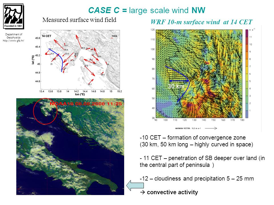 16  13 CET – Cb moved southward of Istria, Rijeka and Cres (cloudiness and 45 mm precipitation)  large-scale NW wind is superimposed on the western SB producing larger inland penetration and amplifying the magnitude of the SB speed  14 – 17 CET – dissipation of Cb Department of Geophysics http://www.gfz.hr/ CASE C = large scale wind NW MAX ECHO (DBZ) at 13:50 CET LINET (CG+IC) data between 14-15 CET